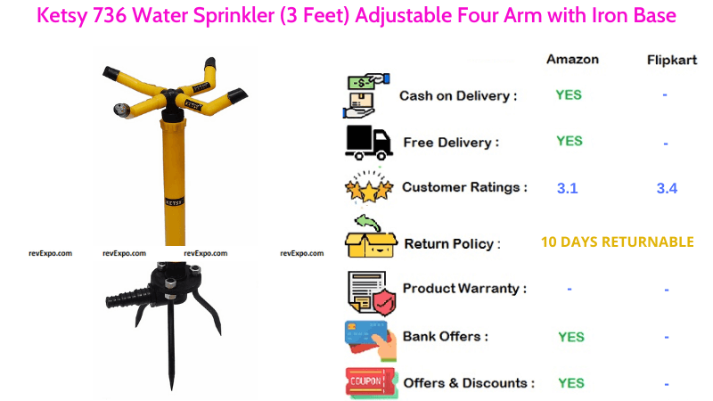 Ketsy 736 3 Feet Water Sprinkler with Adjustable Four Arm & Iron Base
