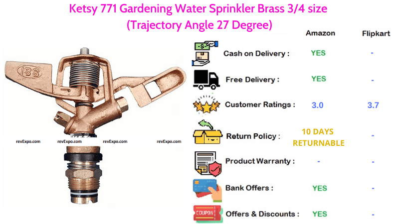 Ketsy 771 Gardening Brass Water Sprinkler with 34 size & 27 Degree Trajectory Angle