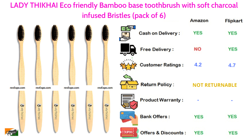 LADY THIKHAI pack of 6 Bamboo Toothbrush with Eco friendly Base & Soft Charcoal Infused Bristles