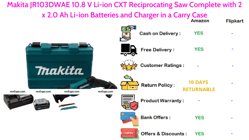 Makita Li-ion CXT Reciprocating Saw Complete JR103DWAE with 10.8 V, 2 x 2.0 Ah Li-ion Batteries & Charger in a Carry Case