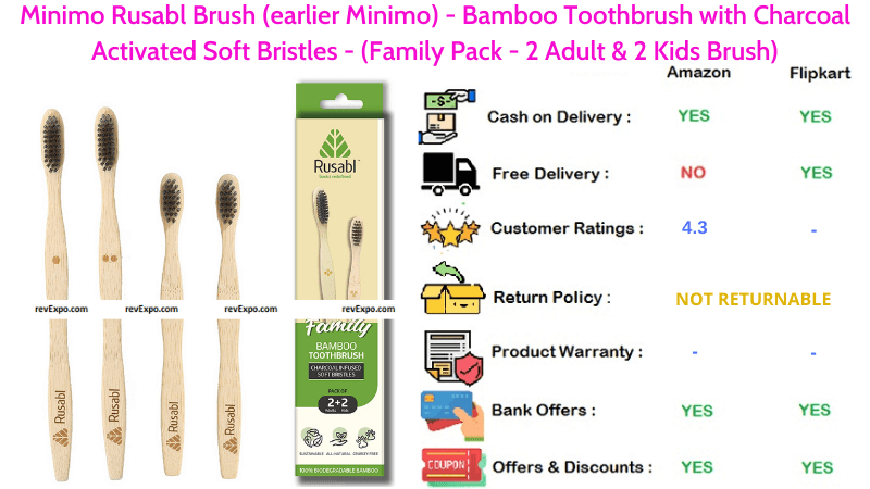 Minimo Rusabl Bamboo Toothbrush Pack of 2 Adult & 2 Kids Brushes with Charcoal Activated Soft Bristles