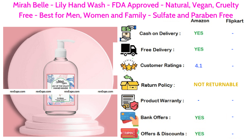 Mirah Belle Lily Hand Wash Liquid Sulfate and Paraben Free FDA Approved Natural, Vegan & Cruelty Free Best for Men, Women and Family