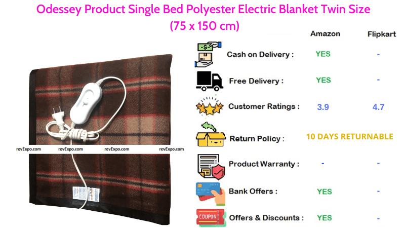 Odessey Polyester Electric Blanket for Single Bed in Twin Size