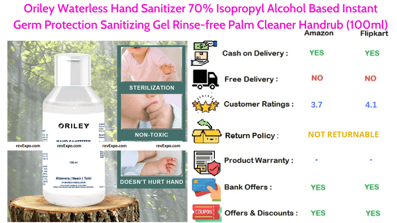 Oriley Waterless Hand Sanitizer with 70% Isopropyl