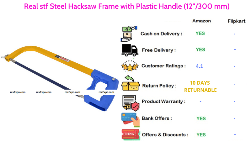 Real stf Steel Hacksaw Frame with 12300 mm Plastic Handle