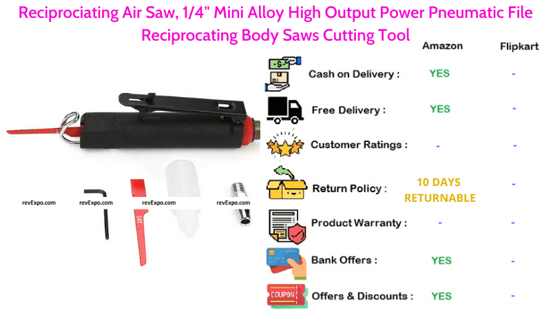 Reciprociating Air Saw with 14 Mini Alloy, High Output Power Pneumatic File Reciprocating Body Saw Cutting Tool