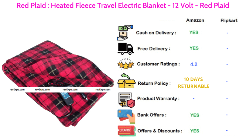 Red Plaid Electric Blanket Heated Fleece Travel with 12 Volts