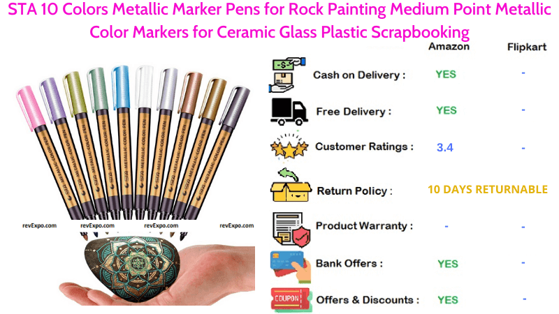 STA 10 Colors Metallic Marker Pens for Ceramic Glass Plastic Scrapbooking for Rock Painting Medium Point Metallic Color Markers