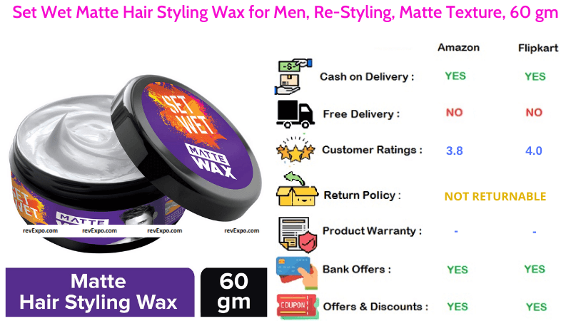 Set Wet Matte Hair Wax for Men for Re-Styling