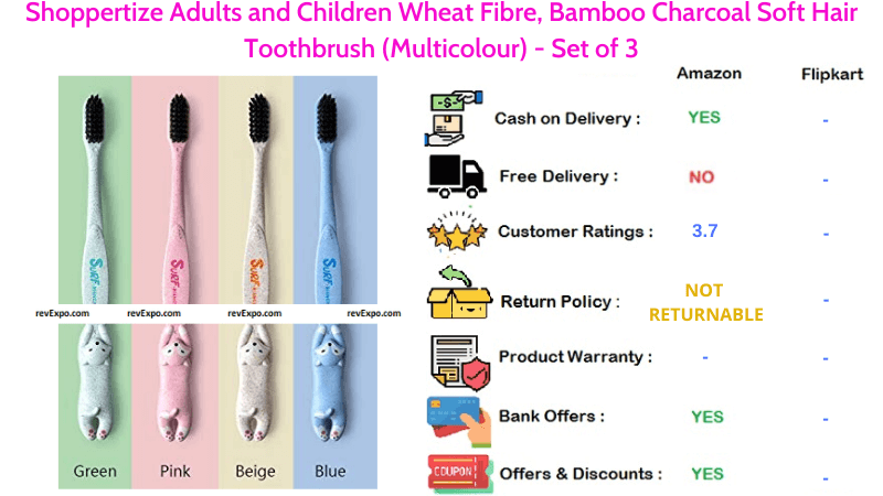 Shoppertize Bamboo Charcoal Soft Hair Toothbrush for Adults & Children Set of 3