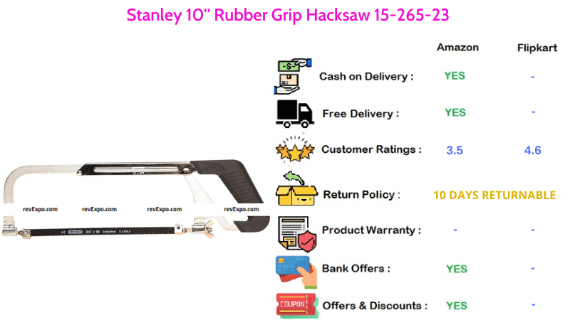 Stanley 10 inch Hacksaw with Rubber Grip 15-265-23