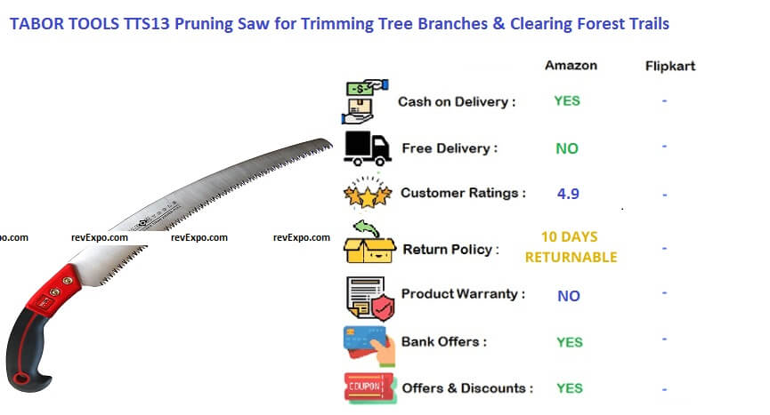 TABOR TOOLS TTS 13 Pruning Saw with Sheath for Trimming Tree Branches & Clearing Forest Trail