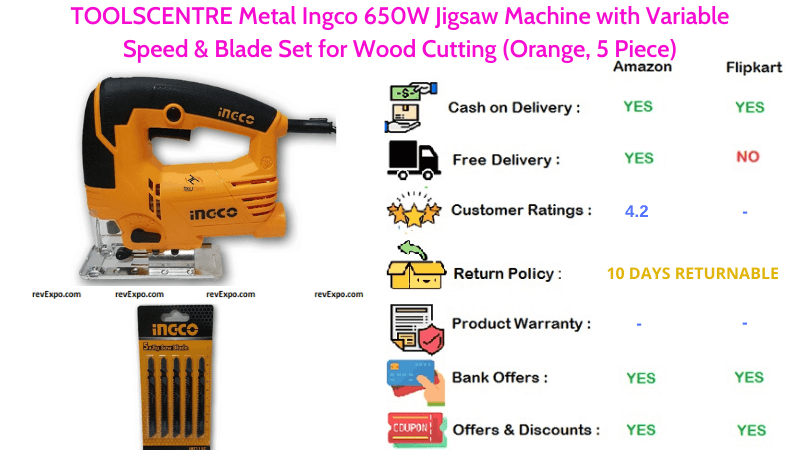 TOOLSCENTRE Metal Ingco Jigsaw Machine with 650W, Variable Speed & Blade Set for Wood Cutting 5 Pieces in Orange