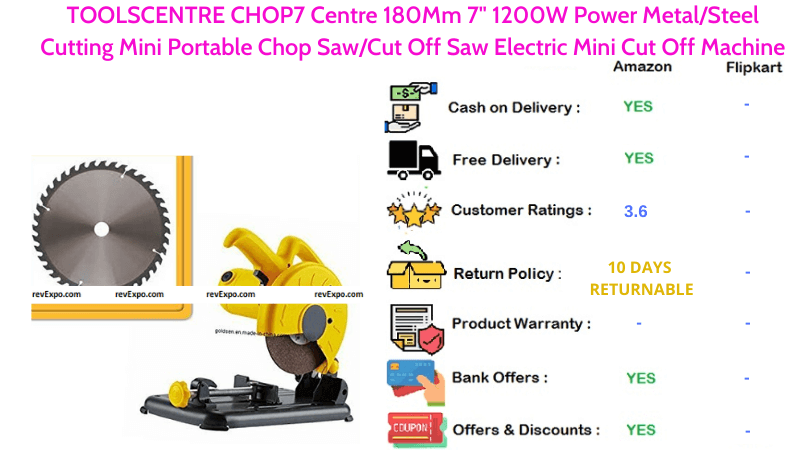 TOOLSCENTRE Mini Portable Chop Saw CHOP7 Centre with 180mm 7inch & 1200W Power MetalSteel Electric Mini Cut Off Machine