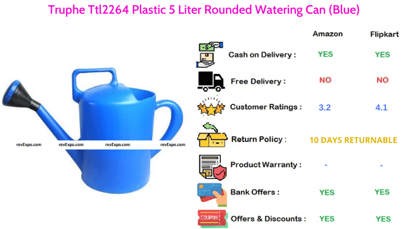Truphe Ttl2264 Plastic Rounded Watering Can with 5 Liters