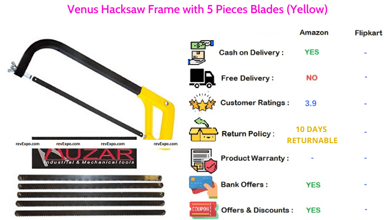 Venus Hacksaw Frame with 5 Pieces Blades in Yellow
