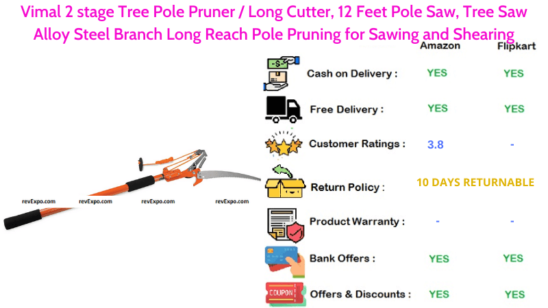 Vimal 2 Stage Tree Pole Saw with 12 Feet Long Cutter, Alloy Steel Branch Long Reach Pole Pruning for Sawing & Shearing