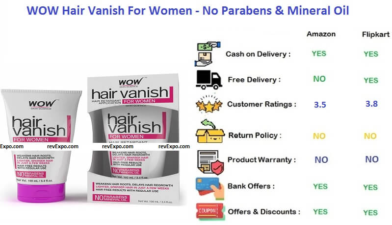 WOW Hair Vanish For Women - No Parabens & Mineral Oil