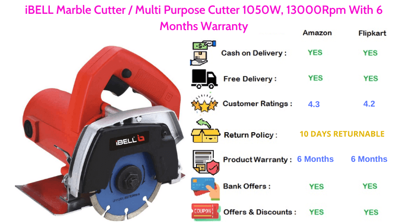 iBELL Circular Saw Multi Purpose Marble Cutter with 1050W, 13000Rpm & 6 Months Warranty