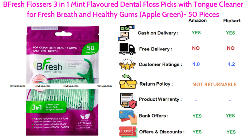 BFresh Flossers Tongue Cleaner with 3 in 1