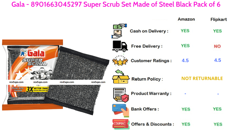 Gala Super Scrub Pad Made with Steel Pack of 6