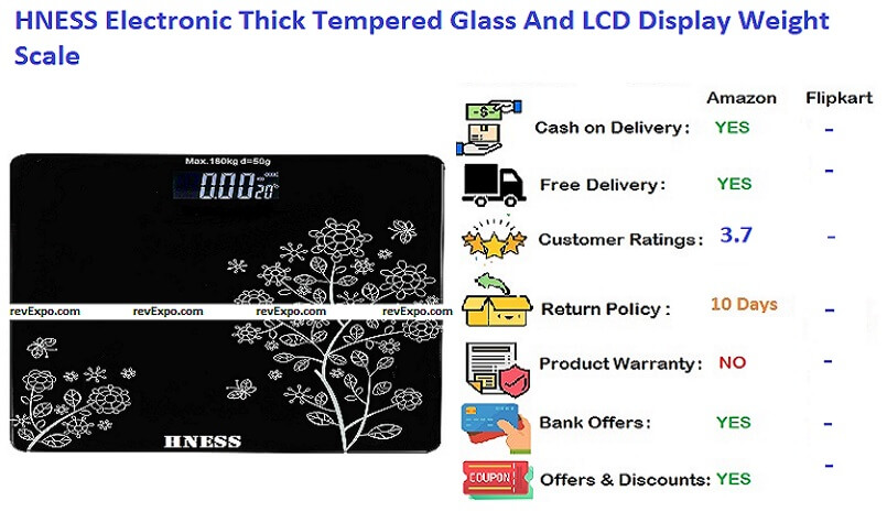 HNESS Electronic Thick Tempered Glass & LCD Display Electronic Digital Personal Bathroom Health Body