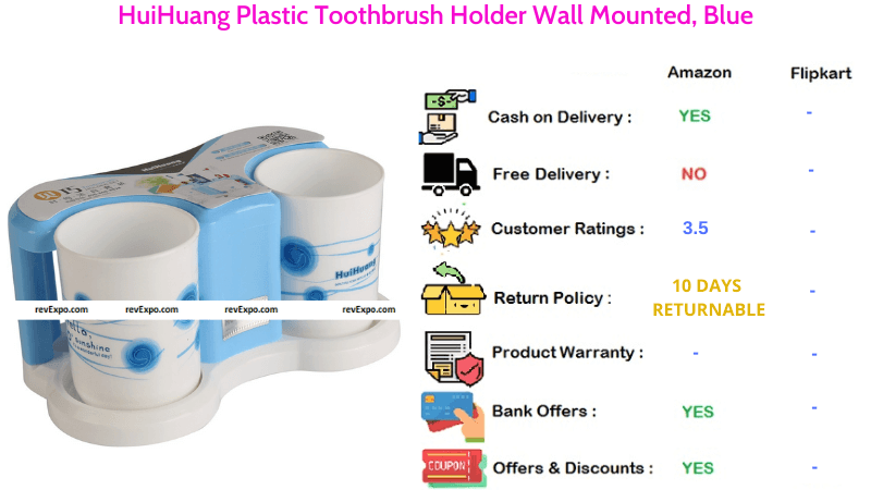 HuiHuang Wall Mounted Plastic Toothbrush Holder