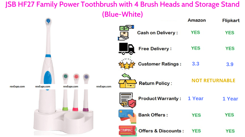 JSB HF27 Electric Toothbrush with 4 Brush Heads
