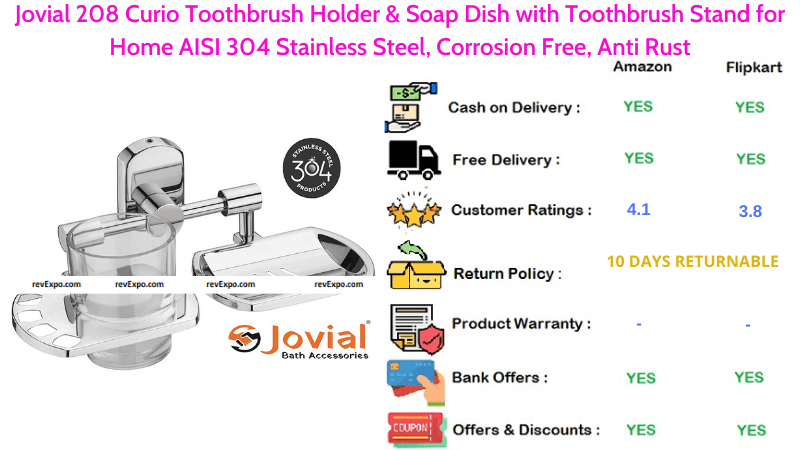 Jovial 208 Curio Toothbrush Holder Stand for Home