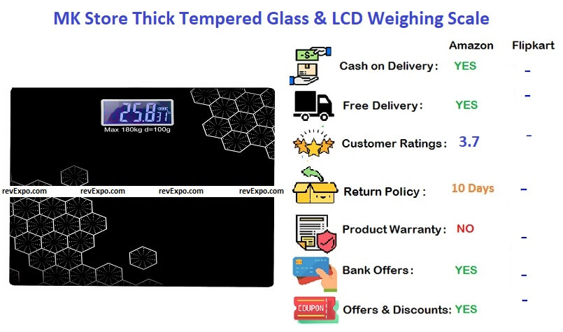 MK Store™ Thick Tempered Glass & LCD Display Square Electronic Digital Personal Bathroom Health Body Weight Weighing Scale