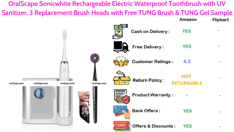 OralScape Sonicwhite Electric Toothbrush Rechargeable & Waterproof