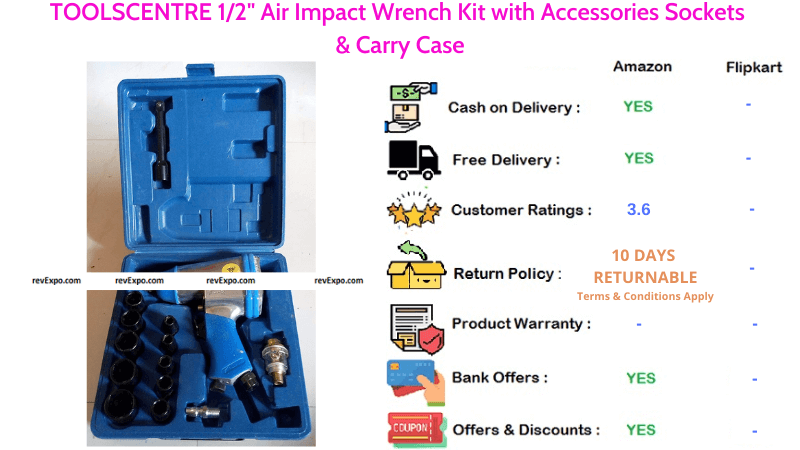 TOOLSCENTRE Air Impact Wrench Kit with Carry Case