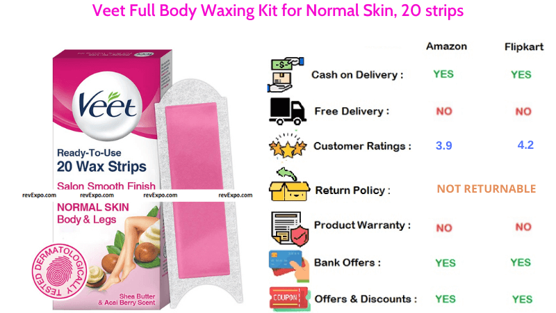 Veet Full Body Waxing Kit for Normal Skin with 20 strips