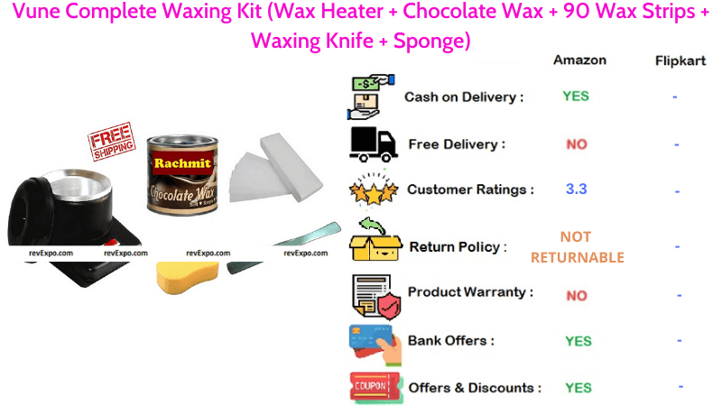 Vune Complete Body Waxing Kit with Wax Heater