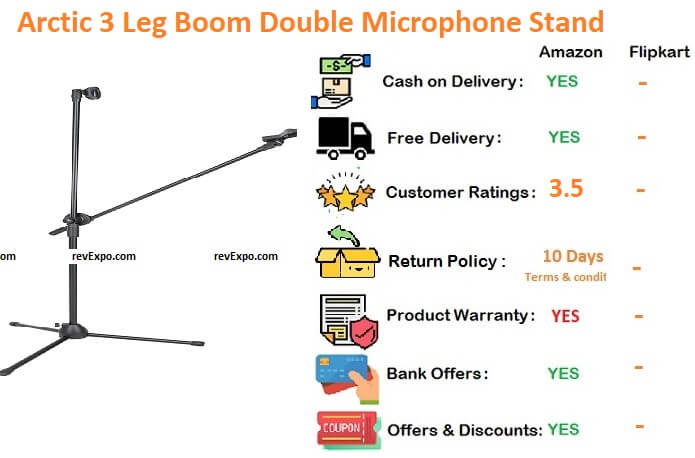 Arctic 3 leg boom double microphone stand