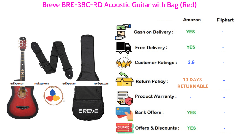 Breve Acoustic Guitar BRE-38C-RD with Bag