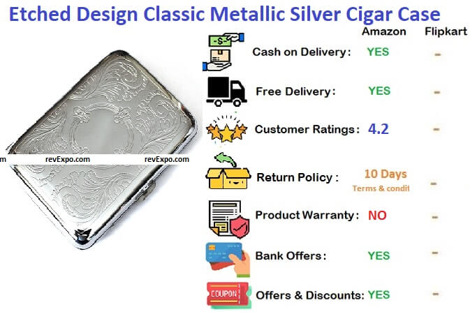 Etched design classic metallic silver double sided king cigarette case