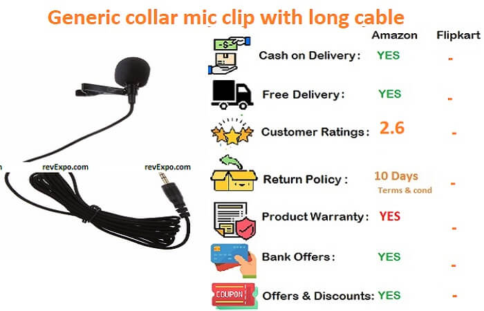 Generic collar mic clip with long cable for mobile,dslr camera