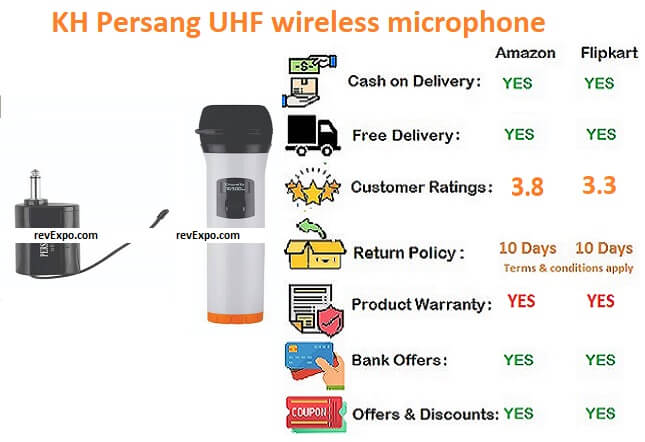 KH Persang UHF Wireless Microphone Handled Mic with receiver