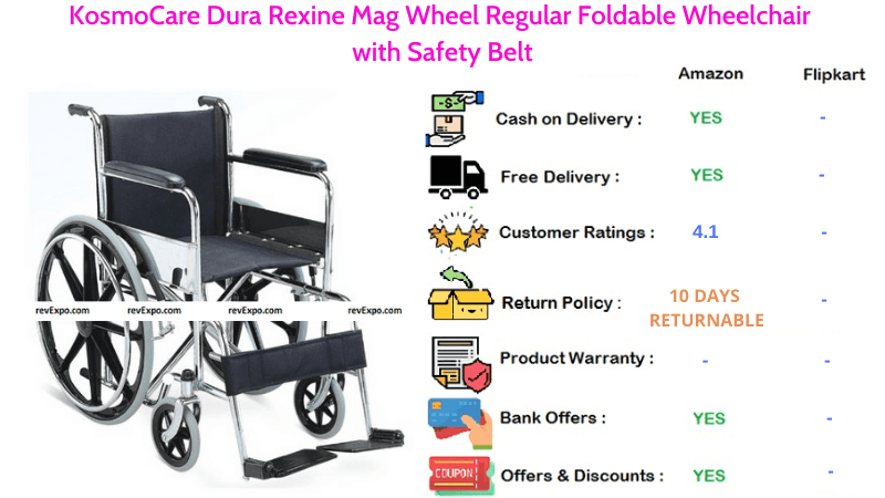 KosmoCare Foldable Wheelchair with Dura Rexine