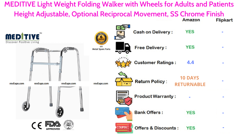 MEDITIVE Folding Walker with Light Weight, Height Adjustable