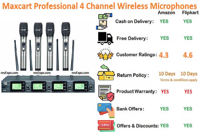 Maxcart professional 4 channel uhf series cordless microphone