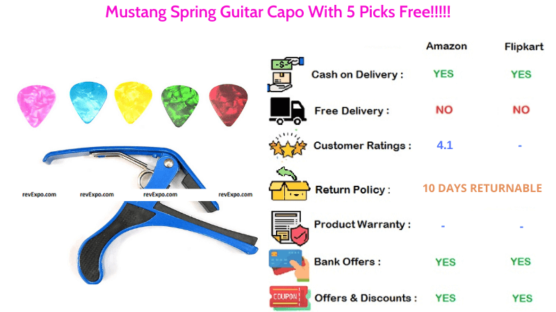 Mustang Spring Guitar Capo with 5 Free Picks