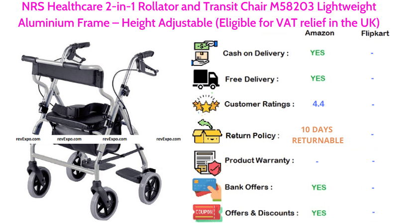 NRS Healthcare 2-in-1 Rollator and Transit Chair Height