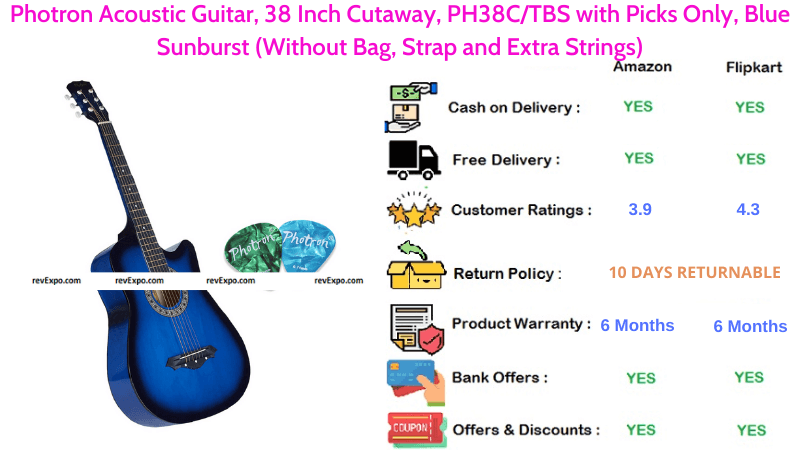 Photron Acoustic Guitar PH38CTBS with 38 Inch Cutaway