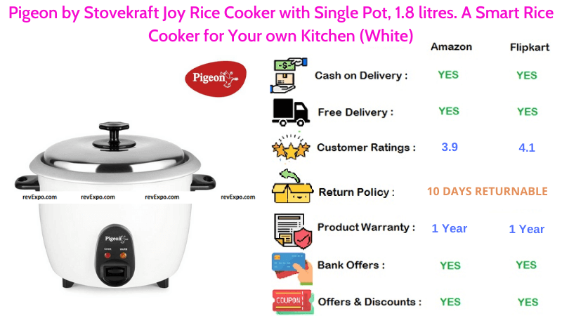 Pigeon 1.8 litres Rice Cooker by Stovekraft Joy A Smart Rice
