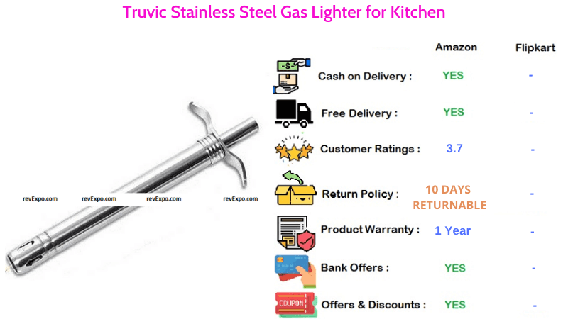 Truvic Stainless Steel Lighter for Kitchen