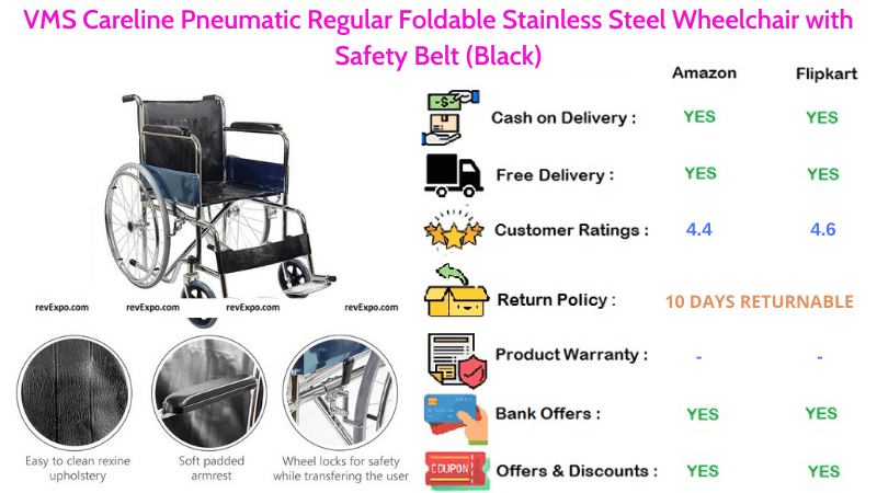 VMS Careline Stainless Steel Wheelchair Pneumatic