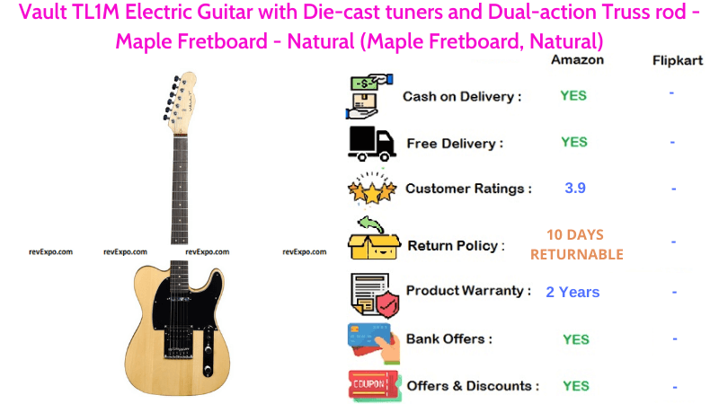 Vault TL1M Electric Guitar with Natural Maple