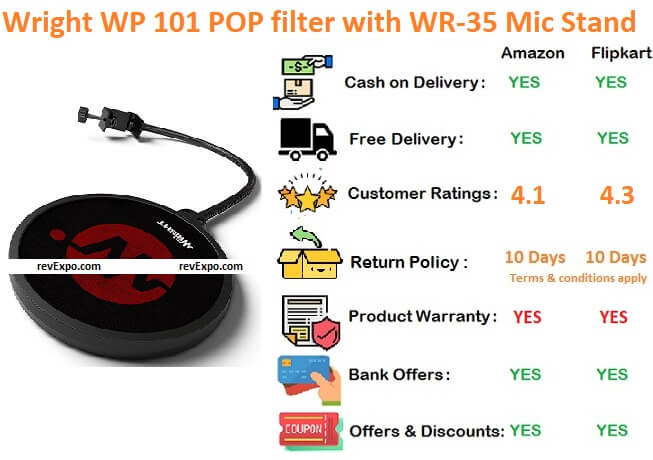 Wright WP 101 POP filter with WR-35 Microphone Stand